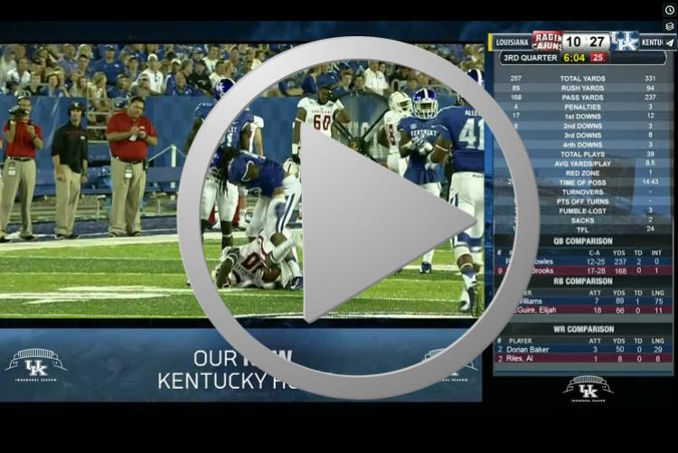 Example of live game day IPTV coverage with rotating promotional messages and real time game and player stats. Includes clock & score data option.